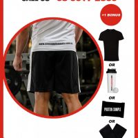 AAA APPAREL   Black and White Polyester Gym Shorts   Long Version